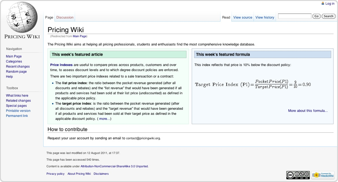 Pricing Wiki
