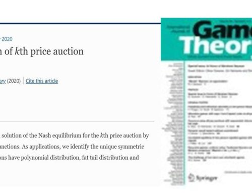 Mathematical Research : New article on Analytical Solution of kth price auction